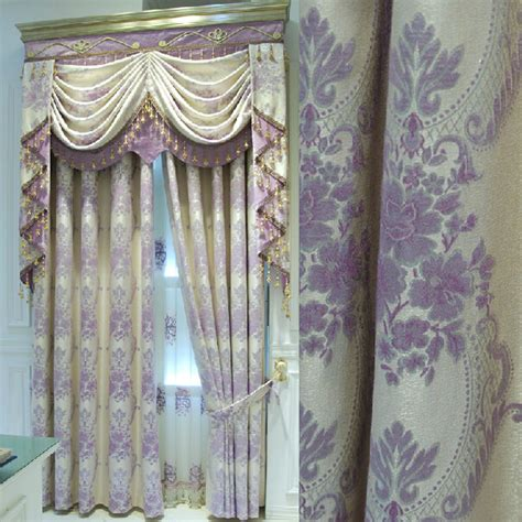 exquisite linen fabric full blackout curtain  lilac