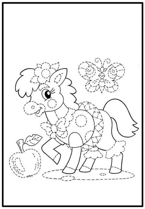 sweet trace and color sheet 171 preschool and homeschool 594 | sweet horse trace and color sheet