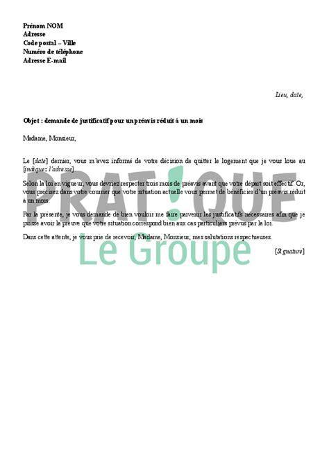 modele lettre préavis 1 mois logement lettre de demande de justificatifs pour un pr 233 avis r 233 duit