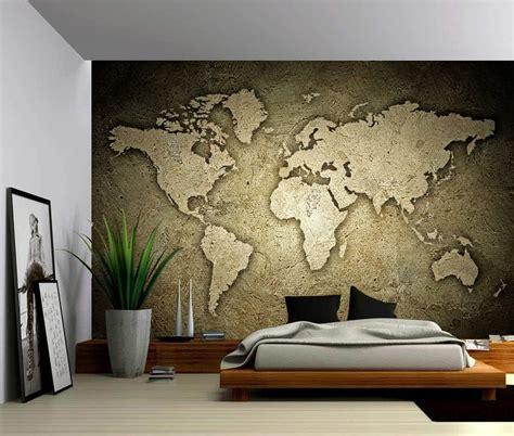Sepia Stone Texture World Map Self Adhesive Vinyl
