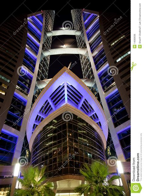 Bahrain World Trade Center At Night, Bahrain Editorial ...