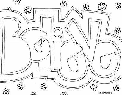 Coloring Word Pages Believe Doodle Alley