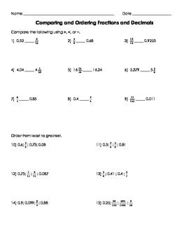 comparing and ordering fractions and decimals worksheet