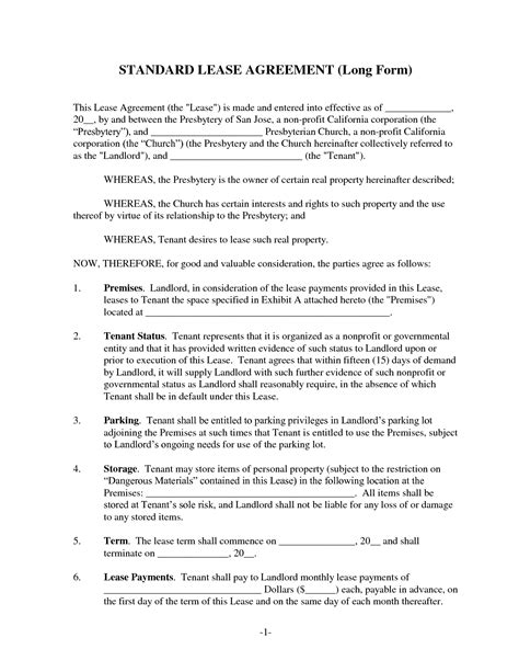 standard residential lease agreement form
