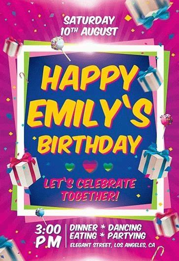 birthday party invitation flyer psd template