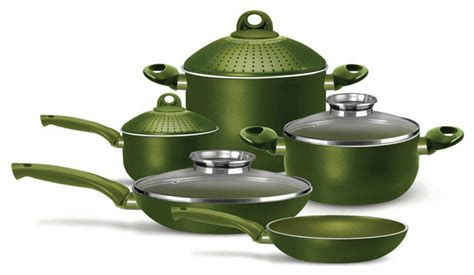 piece nonstick cookware set green contemporary cookware sets  pensofal