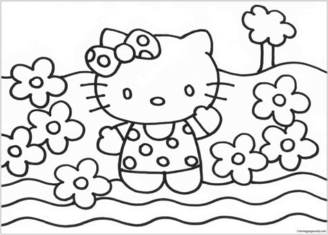 Hello Kitty And Flowers Coloring Page Free Coloring