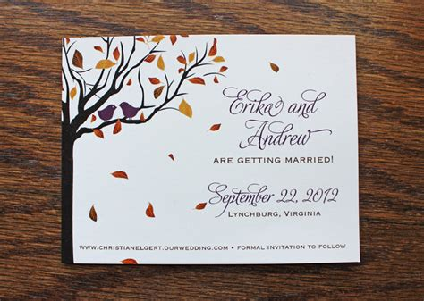 Two Love Birds in a Fall Tree Save the Dates emDOTzee
