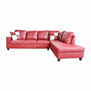76 off beverly furniture beverly furniture red faux for Red faux leather sectional sofa