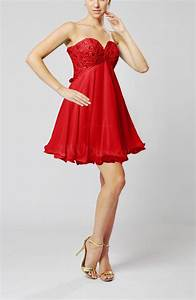 red sexy sweetheart sleeveless backless chiffon mini With sexy wedding guest dresses