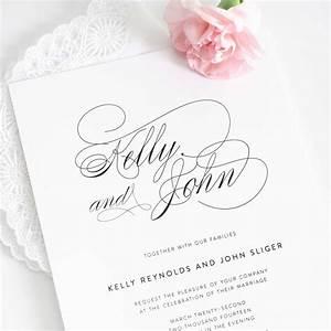 Wedding invitations white design with large size names for Wedding invitation designs fuchsia pink
