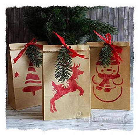 christmas paper craft stenciled christmas gift bags