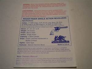 Rough Rider Single Action Revolvers Owners Manual Pistol