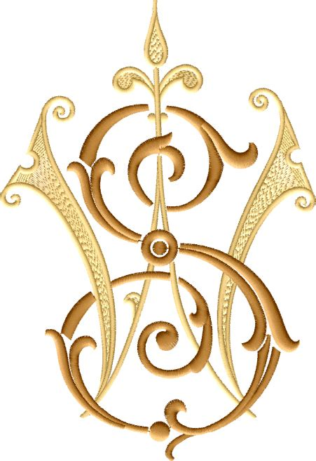 letter intertwined monogram       sizes