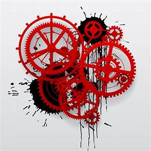 Red gear wheels with grunge background vector - Vector ...