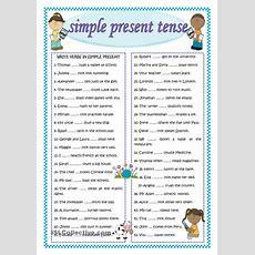 Simple Present Tense  English For Kids  Pinterest  Worksheets, Printable Worksheets And Teacher