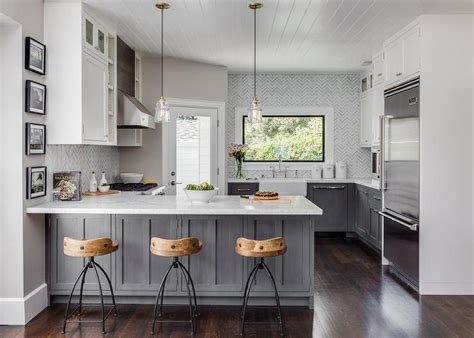 grey and white cabinets gray distressed kitchen cabinets with marble herringbone