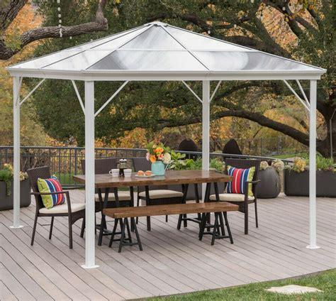 hardtop gazebo aluminum metal pergola  outdoor garden canopy shade hard top ebay