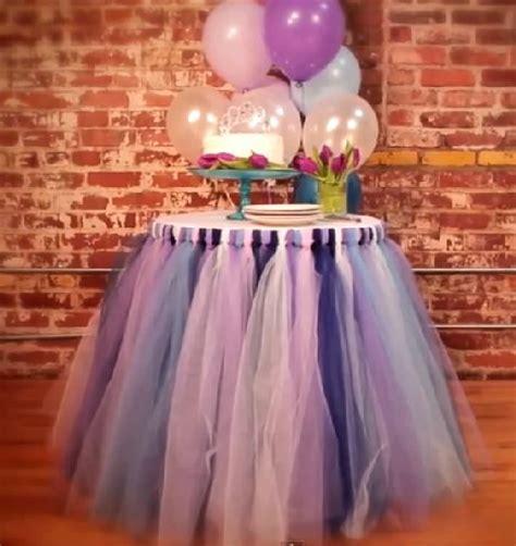 diy tulle table skirt bridal shower decorations