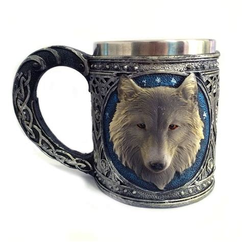 Do not pay for items in advance if you do not know the seller. New 3D Funny Wolf Coffee Cup Mug Cool Resin Stainless Steel Drinkware Tea Milk Copo Friend Gift ...