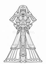 Nun Pitiful Expression Coloring Suit Elegant Young Folded Prayer Stands Hands Illustrations Vectors sketch template