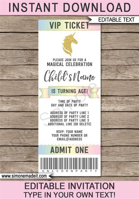 ticket invitation template unicorn ticket invitations template unicorn theme ticket invite