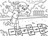 Coloring Playing Outside Pages Play Kid Hopskotch sketch template