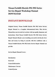 Nissan Forklift Electric P01 P02 Series Service Repair Workshop Manual Download By T-repair