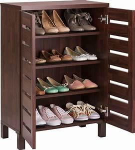 Home, Slatted, Shoe, Storage, Cabinet, -, Mahogany, Effect