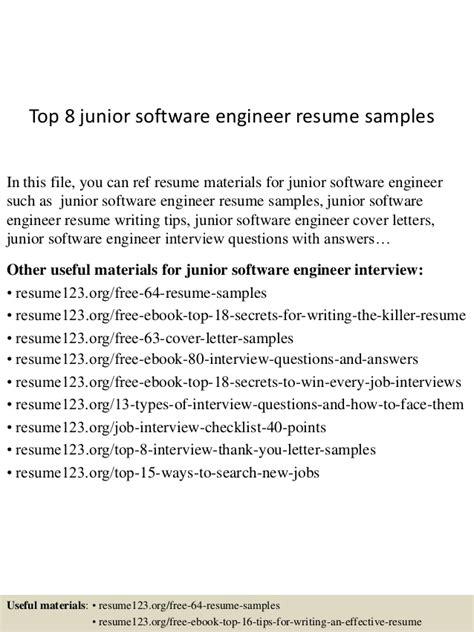 Junior Project Engineer Resume by Top 8 Junior Software Engineer Resume Sles