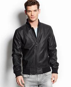 Guess Perforated Faux-Leather Jacket in Black for Men | Lyst