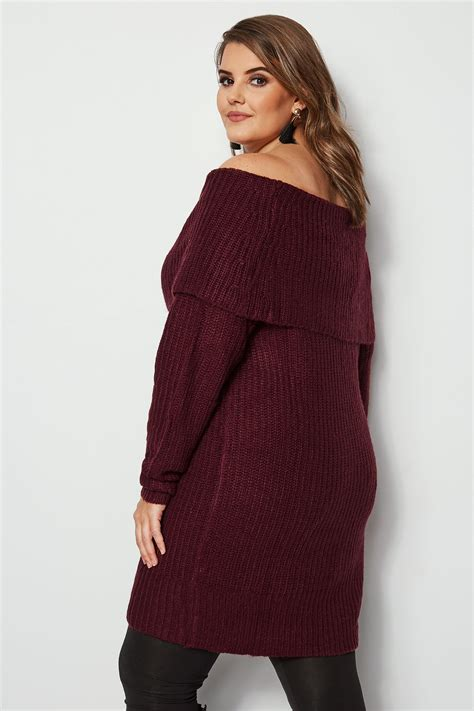 Bordowy Sweter Z Wywijanym Dekoltem, Duże Rozmiary 4464