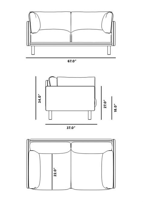 Dimensions Of A Loveseat by Loveseat Mid Century Modern