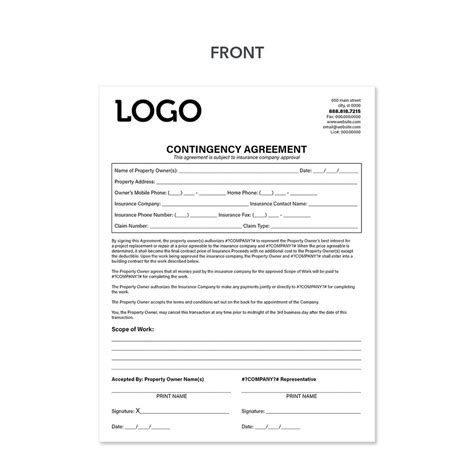 carbonless contingency invoice forms  roofers design
