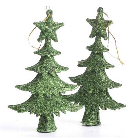green glittered christmas tree ornaments christmas