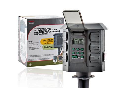 new 7 day 6 outlet digital outdoor stake timer w photocell