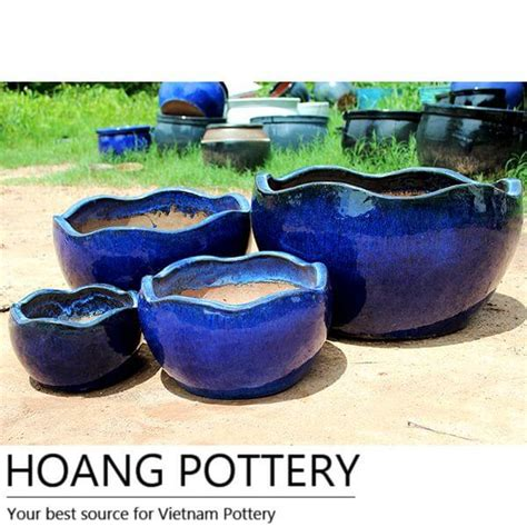 glazed ceramic planters aqua blue glazed ceramic pots hptv051 hoang pottery