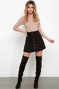 Cute Black Suede Skirt - A-Line Skirt - Button Front Skirt - $49.00