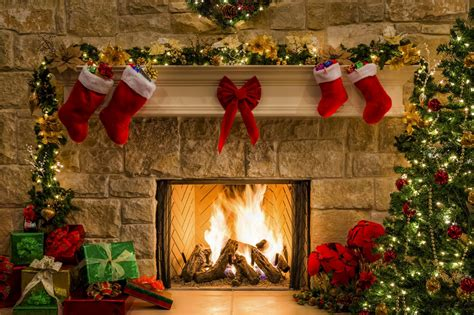 a merry christmas new year box gifts holiday fireplace