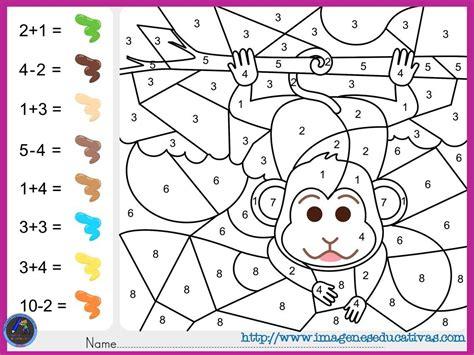 Colorea por por sumas y números Matematicas para