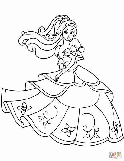 Princess Coloring Pages Dancing Printable Princesses Disney