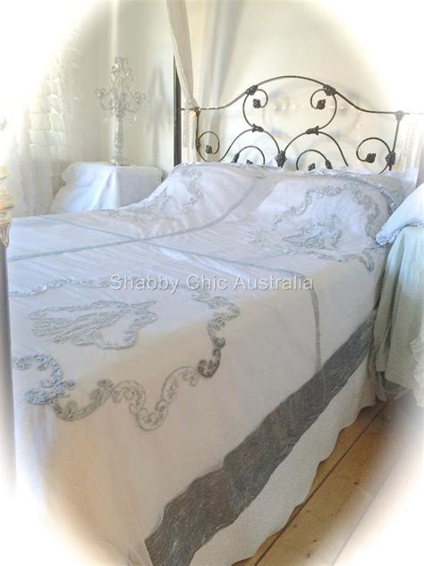 shabby chic velvet bedding shabby bella chic french lace velvet queen king bed quilt grey silver bedspread ebay