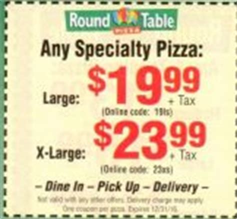 Round Table Coupons, Promotions, Specials for October 2018