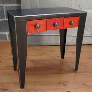 Console Meuble But : console m tal brut verni tiroir console design ~ Teatrodelosmanantiales.com Idées de Décoration