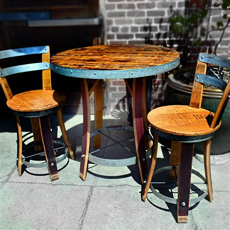barrel table and chairs napa general store wine barrel bistro table with two chairs