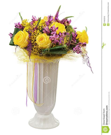 Floral Bouquet Of Yellow Roses And Orchids Arrangement