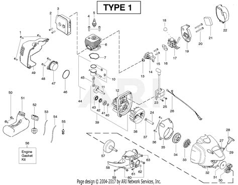 Poulan Gas Trimmer Type Parts Diagram For Engine