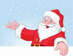 Christmas Santa Claus over blank greeting (place) card ...