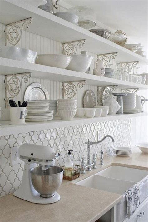 country shelves for kitchen moroccan tile backsplash ideas white kitchen open 6201