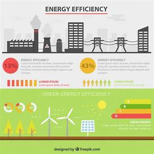 Energy Efficiency Infographic With Factory And Renewable Energy Vector